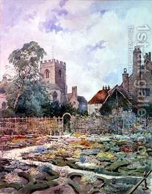 The knot garden the Guild Chapel Stratford upon Avon by D.A. Greatorex - Reproduction Oil Painting
