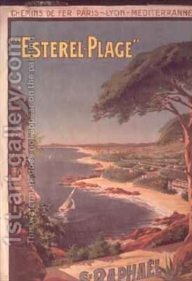 Poster advertising Esterel Plage St Raphael by Henri (Boulanger) Gray - Reproduction Oil Painting