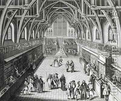 Westminster Hall The First Day of Term A Satirical Poem by Hubert-Francois Gravelot - Reproduction Oil Painting
