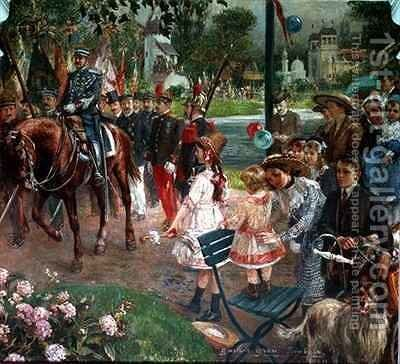 The March past to the Exhibition at Roubaix by Gustave Grau - Reproduction Oil Painting