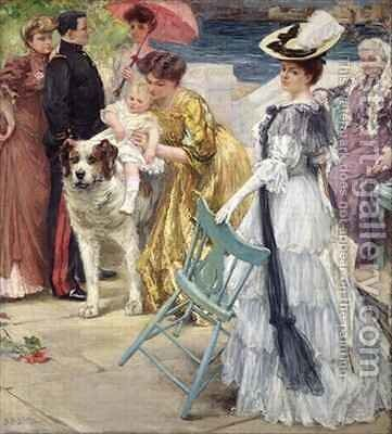 En Famille by Gustave Grau - Reproduction Oil Painting