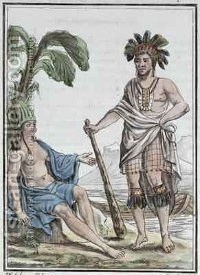 A Man and Woman from Easter Island from Encyclopedie des Voyages by (after) Grasset de Saint-Sauveur, Jacques - Reproduction Oil Painting