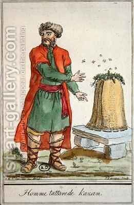 Tatar Man of Kazan with a beehive by (after) Grasset de Saint-Sauveur, Jacques - Reproduction Oil Painting
