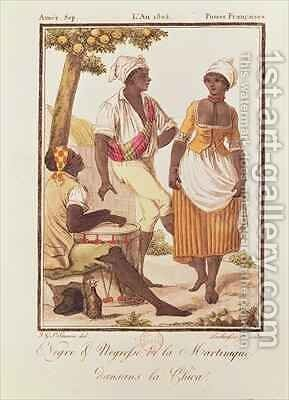 Negro and Negress from Martinique Dancing la Chica by (after) Grasset de Saint-Sauveur, Jacques - Reproduction Oil Painting