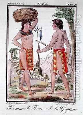 Indians from French Guyana by (after) Grasset de Saint-Sauveur, Jacques - Reproduction Oil Painting