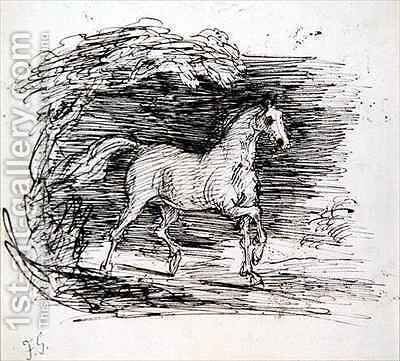 A Grey Horse trotting out of a Wood by Sir Francis Grant - Reproduction Oil Painting
