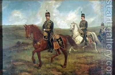 The Prince of Wales 1841-1910 with Lieutenant Colonel Valentine Baker 1827-87 reviewing the 10th Hussars Aldershot by Sir Francis Grant - Reproduction Oil Painting