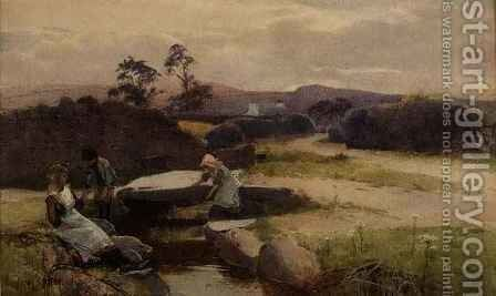 Fishing for Minnows by Carleton Grant - Reproduction Oil Painting