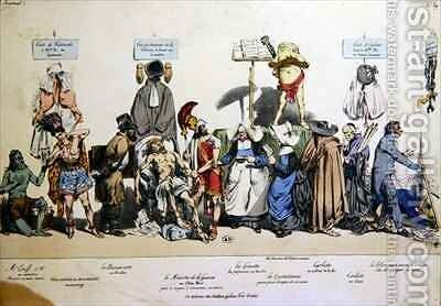 French Society by (Jean Ignace Isidore Gerard) Grandville - Reproduction Oil Painting