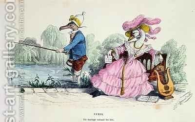 Marriage by the Book caricature from Les Metamorphoses du Jour 2 by (Jean Ignace Isidore Gerard) Grandville - Reproduction Oil Painting