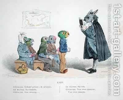 Conjugate the present indicative  I am bored by (Jean Ignace Isidore Gerard) Grandville - Reproduction Oil Painting