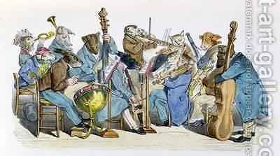 The New Musical Language caricature from Les Metamorphoses du Jour by (Jean Ignace Isidore Gerard) Grandville - Reproduction Oil Painting