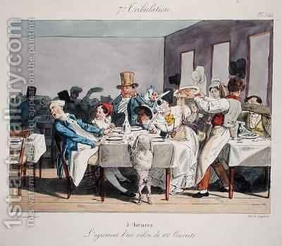 The hundred seater restaurant 5 oclock from Sundays of a Paris Bourgeois by (Jean Ignace Isidore Gerard) Grandville - Reproduction Oil Painting
