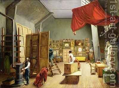 Interior of the Studio of Abel de Pujol 1787-1861 by Adrienne-Marie Grandpierre-Deverzy - Reproduction Oil Painting