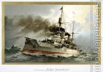 SM Linienschiff Kaiser Friedrich III by H. Graf - Reproduction Oil Painting