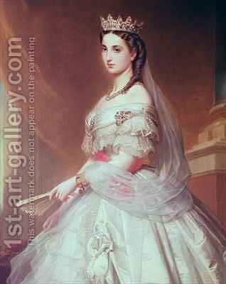 Portrait of Charlotte of Saxe Cobourg Gotha 1840-1927 Princess of Belgium and Empress of Mexico by Alfred Graeffle - Reproduction Oil Painting