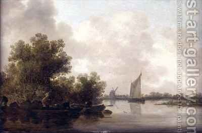 Wooded River Landscape with Fishermen by Jan van Goyen - Reproduction Oil Painting