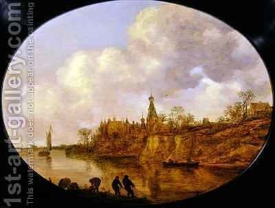 Three Fishermen Hauling a Net and Baskets on the Bank of a River Landscape with a Castle and Village in the Distance by Jan van Goyen - Reproduction Oil Painting