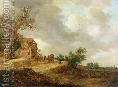 Landscape with Figures Outside an Inn by Jan van Goyen - Reproduction Oil Painting