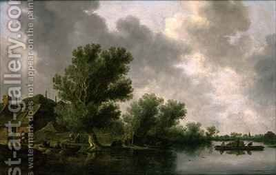 River Landscape with a Ferry by Jan van Goyen - Reproduction Oil Painting