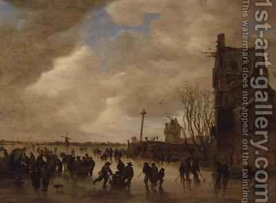 A Winter Skating Scene by Jan van Goyen - Reproduction Oil Painting