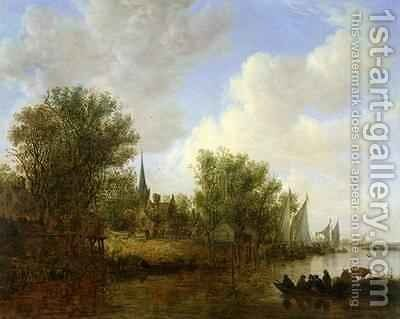 River scene with a View of Overschie by Jan van Goyen - Reproduction Oil Painting