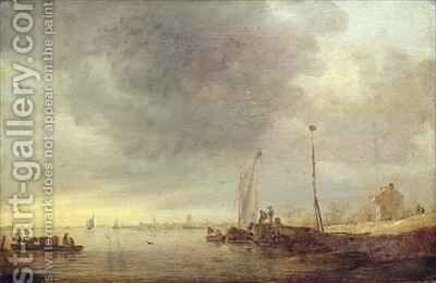 Landscape with River and Ferry by Jan van Goyen - Reproduction Oil Painting