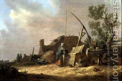 Landscape with a woman at a well by Jan van Goyen - Reproduction Oil Painting