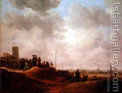 View of the Coast of Egmond Aan See by Jan van Goyen - Reproduction Oil Painting