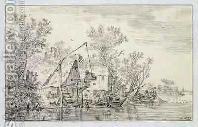 A Wooded River Landscape by Jan van Goyen - Reproduction Oil Painting