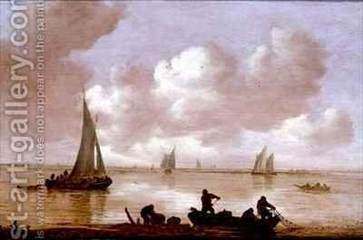 An estuary with fisherman hauling in their nets by Jan van Goyen - Reproduction Oil Painting
