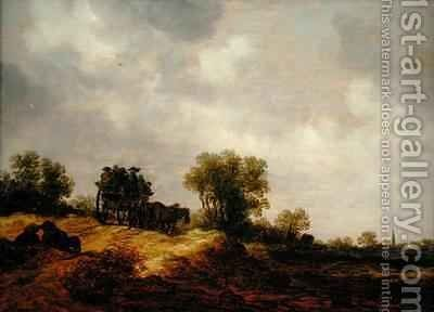 A Cart Passing along a Country Lane by Jan van Goyen - Reproduction Oil Painting