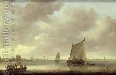 Shipping on the Kil with Oude Wachthuis and the Grote Kerk Dordrecht beyond by Jan van Goyen - Reproduction Oil Painting