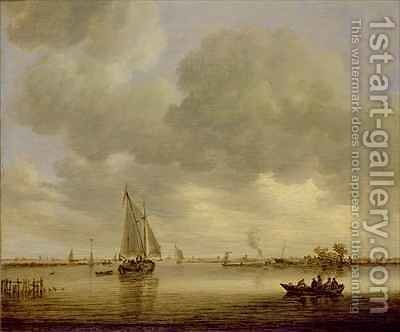 An Estuary with Boats by Jan van Goyen - Reproduction Oil Painting