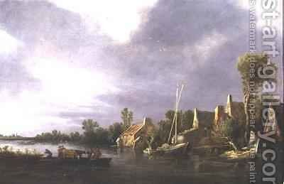 A Village by a River with Peasants and Cattle on a Ferry by Jan van Goyen - Reproduction Oil Painting