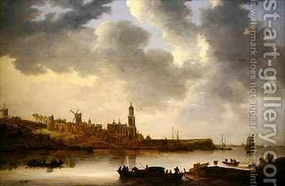 A View across the Rhine at Rhenen by Jan van Goyen - Reproduction Oil Painting
