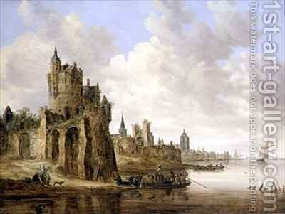 The River Ferry by Jan van Goyen - Reproduction Oil Painting