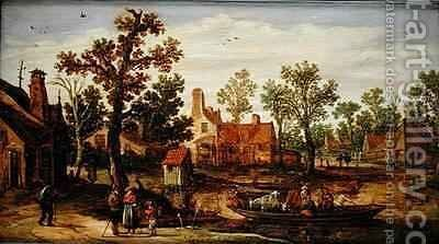 A Village by the River by Jan van Goyen - Reproduction Oil Painting