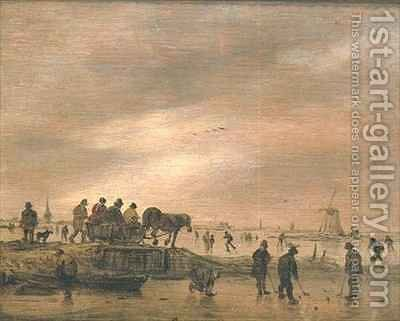 Winter Landscape with a Horse Drawn Sleigh by Jan van Goyen - Reproduction Oil Painting