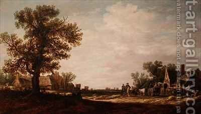 Village Scene with Horses and Carts by Jan van Goyen - Reproduction Oil Painting