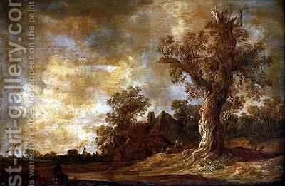 Wooded landscape with figures and oak tree by Jan van Goyen - Reproduction Oil Painting