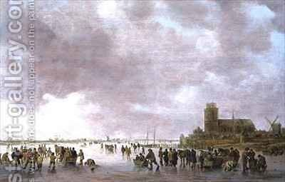 A Winter Landscape with Figures Skating on the Ice by Jan van Goyen - Reproduction Oil Painting