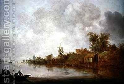A river landscape with fishermen hauling their nets by Jan van Goyen - Reproduction Oil Painting