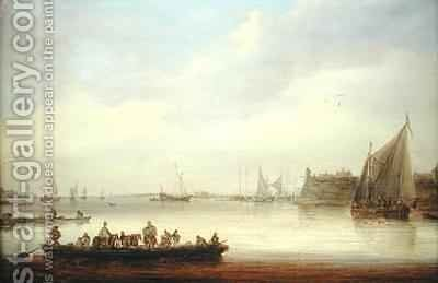 A River Landscape with a Ferry Boat by Jan van Goyen - Reproduction Oil Painting