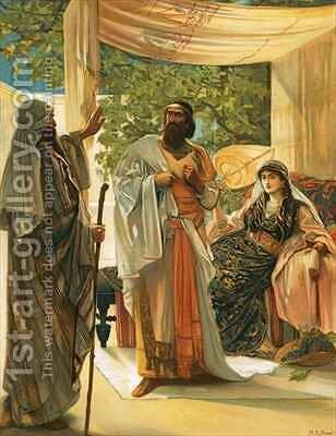 Elijah rebuking Ahab by Mary L. Gow - Reproduction Oil Painting