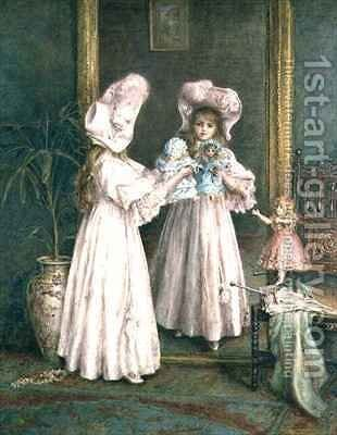 Playing with her dolls by Mary L. Gow - Reproduction Oil Painting