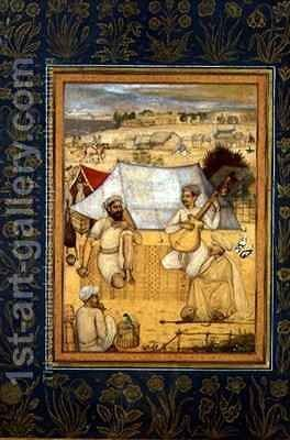 Musicians and singers Kneel at the Outskirts of a Mughal Camp A Yogi and a Servant Listen to them by Govardhan - Reproduction Oil Painting