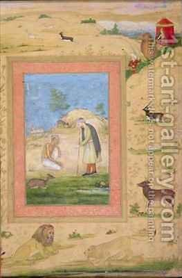 Majnun Kneels Before Lailas Messenger by Govardhan - Reproduction Oil Painting