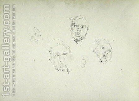 Study of Heads for the Cave of the Golden Calf by Spencer Frederick Gore - Reproduction Oil Painting
