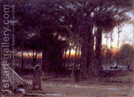 The Banyan Trees and the Sentinel by Albert Goodwin - Reproduction Oil Painting